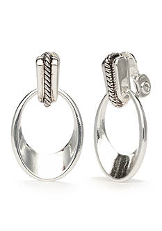 Napier Silver-Tone Classic Concave Oval Link Drop Clip Earrings
