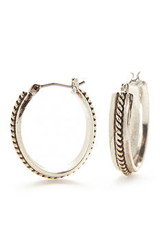 Napier Silver-Tone Classic Braided Hoop Earrings