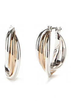 Napier Two-Tone Layered Click Top Hoop Earrings