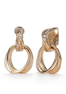 Napier Gold-Tone Gold J'adore Drop Off Hoop Clip Earrings