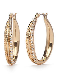Napier Gold-Tone Gold J'adore Crystal Hoop Earrings