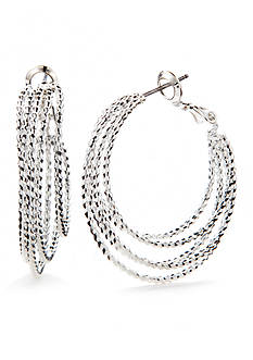 Napier Silver-Tone Classic Multi Layered Hoop Earrings