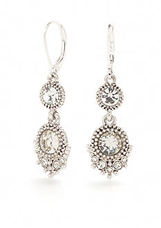Napier Silver-Tone Nights Out Crystal Double Drop Earrings