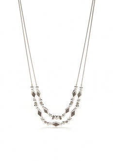 Napier Silver-Tone Casual Diamond Two Strand Frontal Necklace