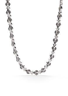 Napier Silver-Tone Casual Diamond Small Collar Necklace