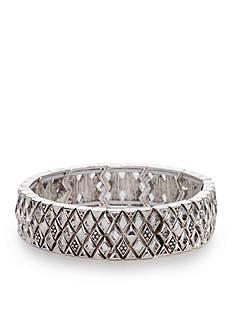 Napier Silver-Tone Casual Diamond Large Stretch Bracelet