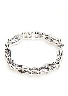 Napier Silver-Tone Casual Diamond Two Strand Bracelet