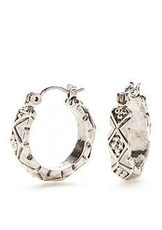 Napier Silver-Tone Casual Diamond Small Hoop Earrings