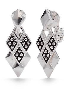 Napier Silver-Tone Casual Diamond Drop Clip Earrings