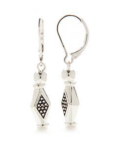 Napier Silver-Tone Casual Diamond Drop Earrings