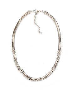 Napier Silver-Tone Modern Contrast Collar Necklace