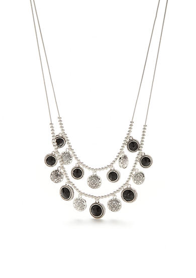 Napier Silver-Tone True Jet Layered Necklace