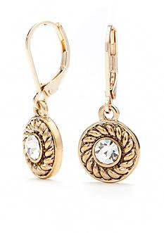 Napier Gold-Tone Classic Drop Earrings