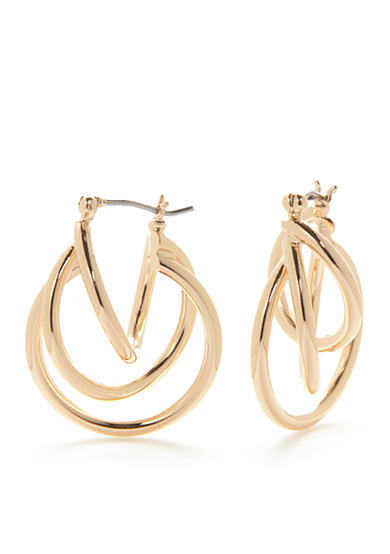 Napier Gold-Tone Classic Small Triple Layered Hoop Earrings