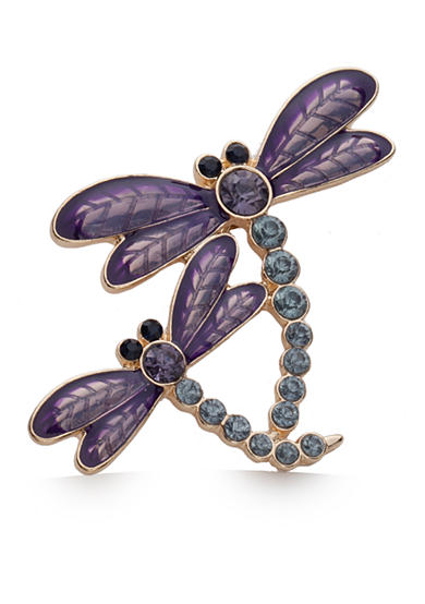 Napier Gold-Tone Purple Dragonfly Boxed Pin