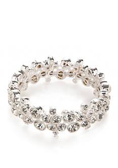 Napier Silver-Tone Crystal Wide Stretch Bracelet