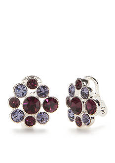 Napier Silver-Tone Nights Out Cluster Clip Earrings