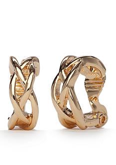 Napier Gold-Tone Classic Open Weave Clip Earrings