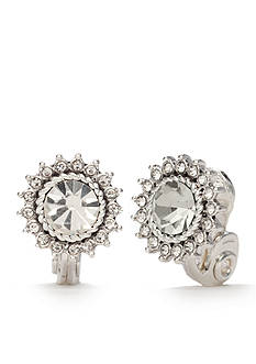 Napier Silver-Tone Classic Crystal Halo Starburst Button Clip Earrings