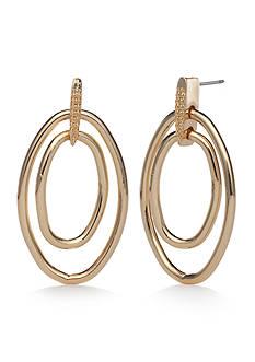 Napier Gold-Tone Drop Hoop Earrings