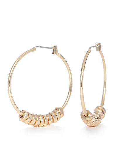 Napier Gold-Tone Classic Large Beaded Hoop Earrings