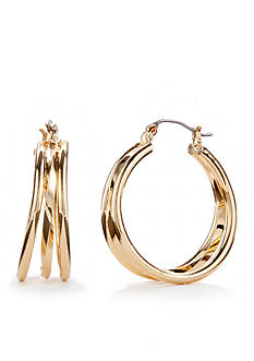 Napier Gold-Tone Layered Clickit Hoop Earrings