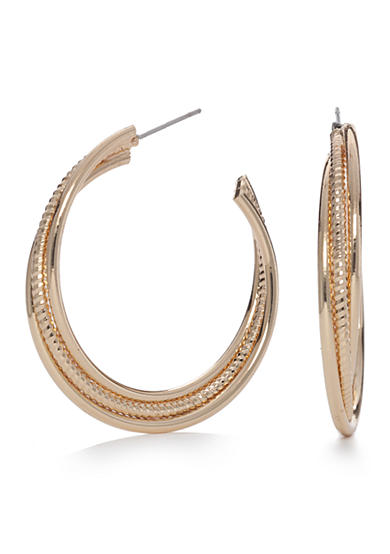 Napier Gold-Tone Classic Large Twisted Hoop Earrings