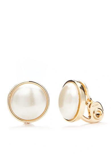 Napier Gold-Tone Classic Faux Pearl Stud Clip Earrings