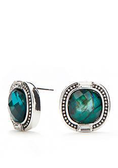 Napier Silver-Tone Modern Romance Button Stud Earrings