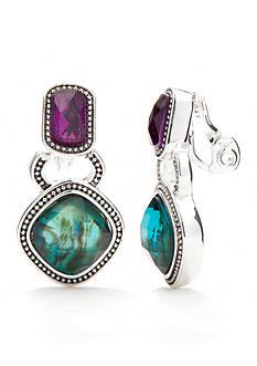 Napier Silver-Tone Modern Romance Double Drop Clip Earrings