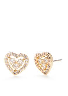 Napier Gold-Tone Cubic Zirconia Heart Stud Earrings