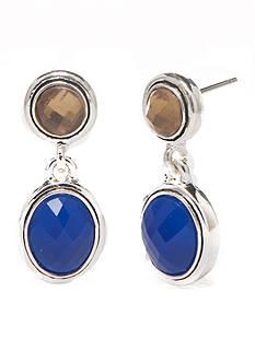 Napier Silver-Tone Global Blue Drop Earrings