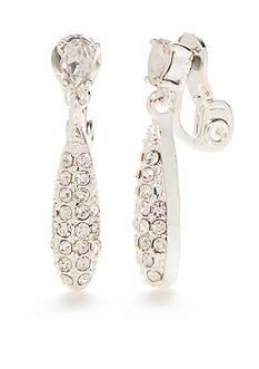 Napier Silver-Tone Double Drop Clip Earrings