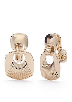Napier Gold-Tone Golden Ridge Double Drop Clip Earrings