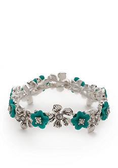 Napier Silver-Tone Floral Blossom Stretch Bracelet