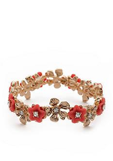 Napier Gold-Tone Floral Blossom Stretch Bracelet