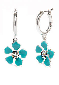 Napier Silver-Tone Floral Blossom Hoop Earrings