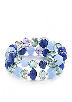 Napier Silver-Tone Two Multi Twist Stretch Bracelet