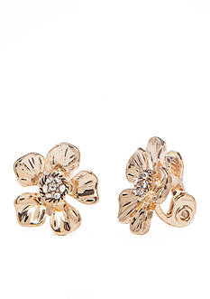 Napier Gold-Tone Floral Blossom Hoop Earrings