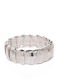 Napier Silver-Tone Silver Ridge Stretch Bracelet