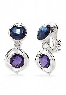 Napier Silver-Tone Multi Twist Double Drop Clip Earrings