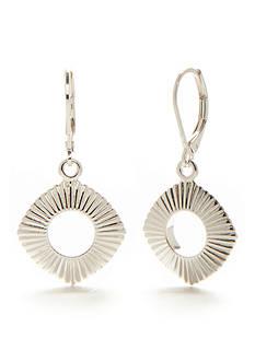 Napier Silver-Tone Silver Ridge Drop Earrings