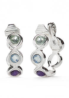Napier Silver-Tone Multi Twist Hoop Clip Earrings