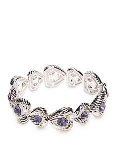 Napier Silver-Tone Heart Stretch Bracelet