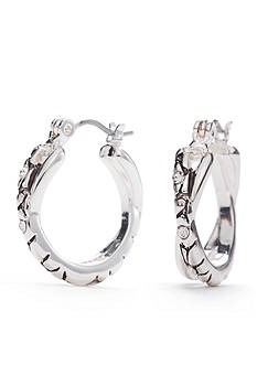 Napier Silver-Tone Mix It Up Crossover Hoop Earrings