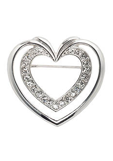 Napier Silver-Tone Crystal Double Heart Pin