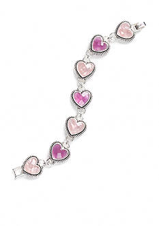 Napier Silver-Tone Pink Heart Chain Bracelet Boxed