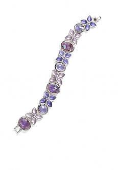 Napier Silver-Tone Purple Flower Chain Bracelet Boxed