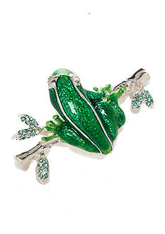 Napier Silver-Tone Frog Boxed Pin