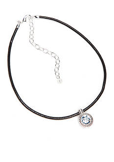 Napier Silver-Tone Blue Crystal Pendant Choker Necklace